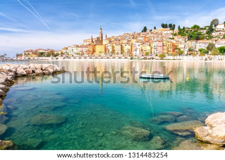 View on colorful town of Menton, Provence-Alpes-Cote d'Azur, France #1314483254