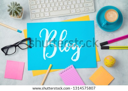 Blog and information website concept. Workplace  background with text. Top view from above #1314575807