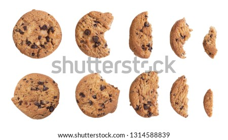 Homemade chocolate chip cookies isolated on white background. #1314588839