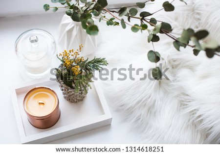 Interior tray decoration with burning candle, mimosa flowers and branches #1314618251