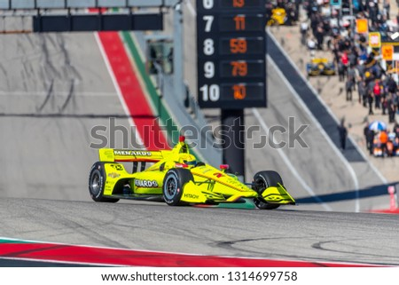 February 12, 2019 - Austin, Texas, USA: SIMON PAGENAUD (22) of France goes through the turns during practice for the IndyCar Spring Test at Circuit Of The Americas in Austin, Texas. #1314699758