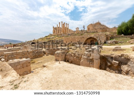 Zeus Temple and South Theater in Roman city of Jerash, Jordan #1314750998