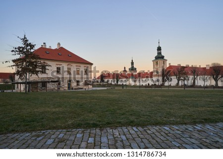 Jesuit college in Kutna Hora in Czech republic, Europe, part of historical old town, world heritage of Unesco. Build in baroque architecture style. Picture taken in sunset                              #1314786734