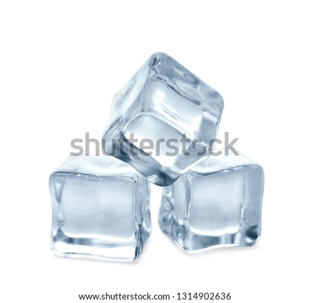 Crystal clear ice cubes on white background #1314902636