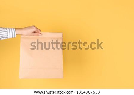 Woman holding paper bag on color background. Mockup for design #1314907553