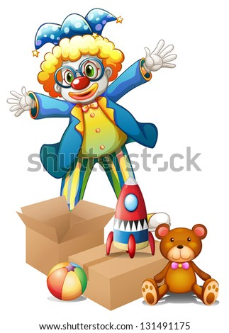 Illustration of a clown with toys on a white background