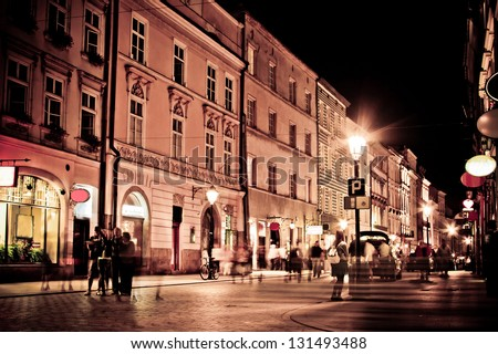 stylized photo of the city's old street in the night #131493488