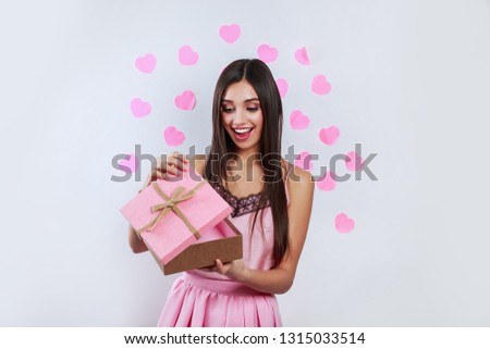 Beautiful woman open pink gift box, Valentines day love concept #1315033514