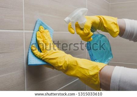 Housemaid cleaning a bathroom, closeup shot #1315033610