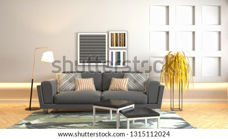 Interior of the living room. 3D illustration #1315112024