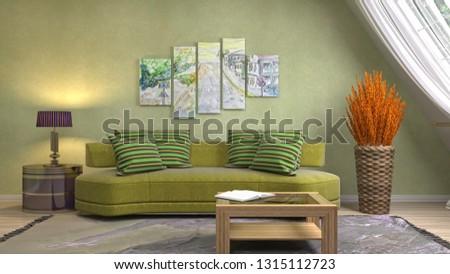 Interior of the living room. 3D illustration #1315112723