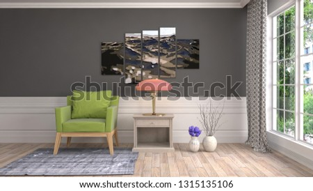 interior with chair. 3d illustration #1315135106