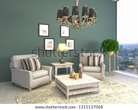 interior with chair. 3d illustration #1315137068