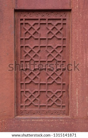 Red stone design in red fort, Agra India #1315141871