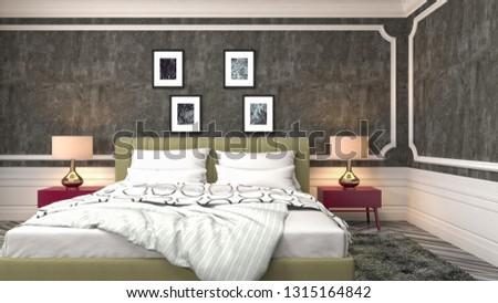 Bedroom interior. 3d illustration #1315164842