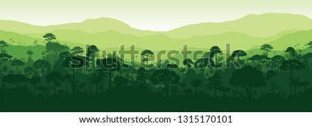 Vector horizontal seamless tropical rainforest Jungle forest background Royalty-Free Stock Photo #1315170101