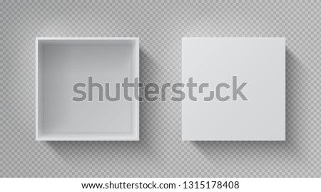 Realistic box top view. Open white package mockup, cardboard closed gift box blank paper pack. Square container vector design template Royalty-Free Stock Photo #1315178408