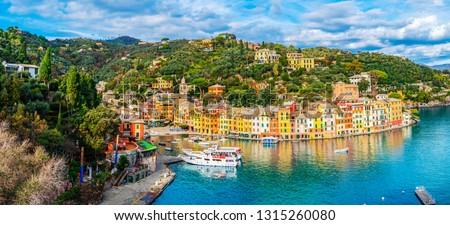 Panoramic view of the colorful coastal italian village Portofino in the province of Liguria, Italy #1315260080
