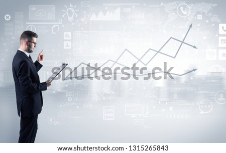 Adviser standing and presenting economical results of a global company #1315265843