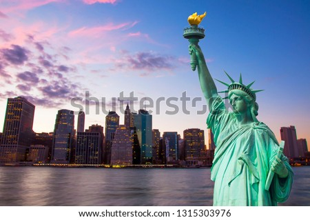 Statue of Liberty and New York Skyline together #1315303976