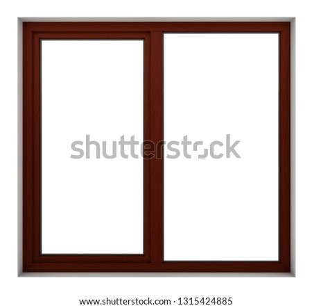 3d render of wooden window frame isolated on white background #1315424885