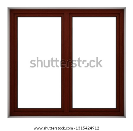 3d render of wooden window frame isolated on white background #1315424912