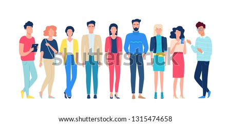 Group of different people who work together. Color vector set illustration #1315474658