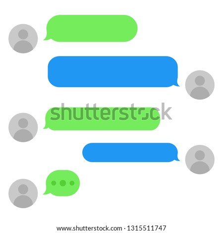 Short message service bubbles with place for text chat text boxes. Empty messaging bubles.  #1315511747