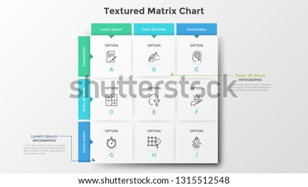 Square matrix chart or table. Nine paper white rectangular elements with thin line icons and letters inside, text boxes. Clean infographic design template. Vector illustration for presentation. Royalty-Free Stock Photo #1315512548