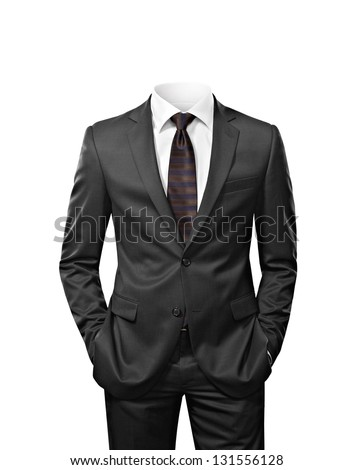 man without head isolated on white Royalty-Free Stock Photo #131556128