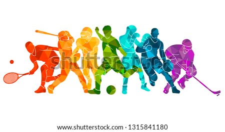 Color sport background. Football, basketball, hockey, box,  baseball, tennis. Vector illustration colorful silhouettes athletes Royalty-Free Stock Photo #1315841180