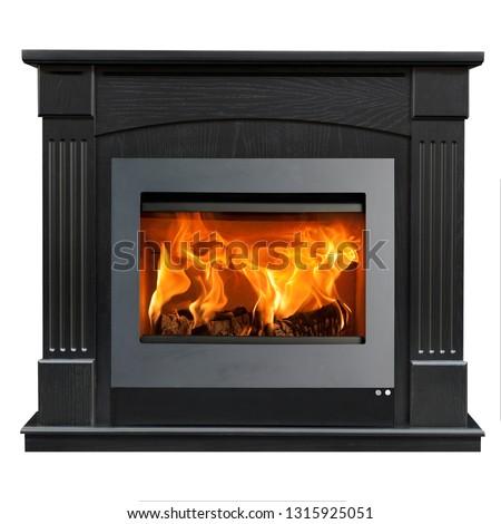 Dark wood fireplace isolated on white background. #1315925051