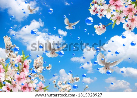 pink white spring flowers in the sky with pigeons and bubbles