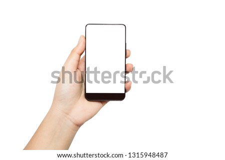 Hand holding black smartphone mockup blank screen isolated on white background. Touch screen mobile phone put in a vertical position. This photo can be used for communication or technology concept. #1315948487