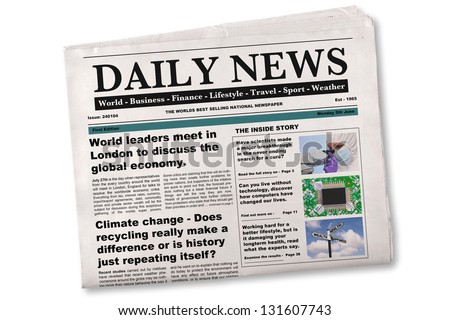 Mock up of a Daily newspaper on a white background. The name, title, headlines and stories are all fake, photos are from my portfolio. Royalty-Free Stock Photo #131607743