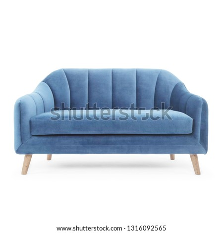 Blue Sofa Isolated on White. Front View Upholstered Contemporary Deep Loveseat with Upholstery and Seat Cushion. Couch with Armrests and Spread Throw Pillows. Interior Furniture with Wooden Legs #1316092565