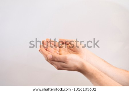 Open hands. Holding, giving, showing concept. White man open hand on white background. Perfect image for business. #1316103602