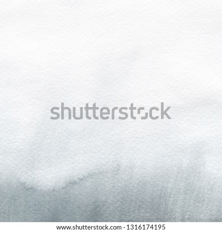 Colorful winter blue ink and watercolor textures on white paper background. Paint leaks and ombre effects. Hand painted abstract image. Deep sea. #1316174195
