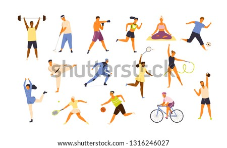 Collection of cute funny men and women performing various sports activities. Bundle of happy training or exercising people isolated on white background. Vector illustration in flat cartoon style. Royalty-Free Stock Photo #1316246027