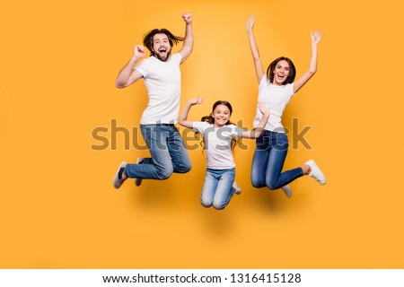 Full length body size portrait of nice lovely adorable attractive positive cheerful people dad daddy mom mommy spending spare free time isolated over shine vivid pastel yellow background #1316415128