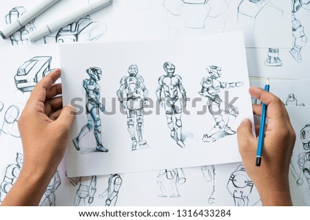 Animator designer Development designing drawing sketching development creating graphic pose characters sci-fi robot Cartoon illustration animation video game film production , animation design studio.