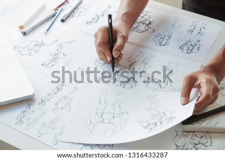 Animator designer Development designing drawing sketching development creating graphic pose characters sci-fi robot Cartoon illustration animation video game film production , animation design studio. #1316433287