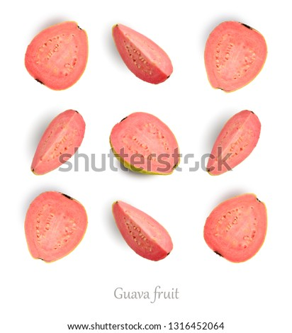Seamless pattern with guava. Guava isolated on the white background, top view.  #1316452064