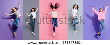 Full length body size view five different nice dreamy lovely attractive charming positive thin slim people having fun isolated over pastel pink violet purple grey background #1316473601