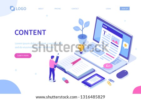 Web content concept with character. Can use for web banner, infographics, hero images. Flat isometric vector illustration isolated on white background.