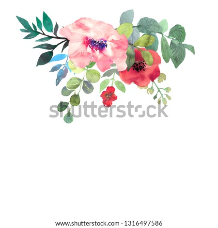 Hand drawn watercolor bouquet on white background. Beautiful gentle flowers in the composition. Roses. Design for card, invitation.  #1316497586