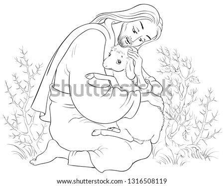 History of Jesus Christ. The Parable of the Lost Sheep. The Good Shepherd Rescuing a Lamb Caught in Thorns Coloring Page. Also available colored version