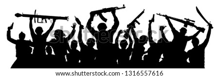 Armed terrorists. Crowd of military people with weapons. Shooting game airsoft paintball. Military silhouette of soldiers. Army team co workers. Vector illustration