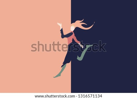 Abstract illustration of a woman with a good idea of a proposition, jump and lifestyle. Shopping and sale. Free background for text, pink and blue color #1316571134
