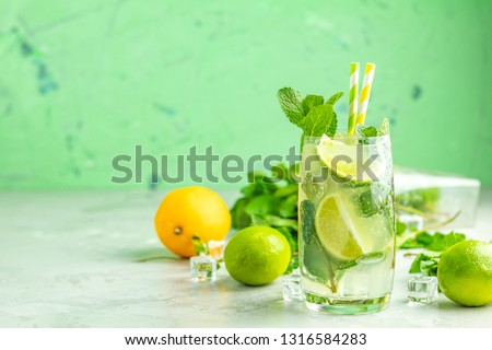 Mojito cocktail with lime and mint in highball glass on a gray and green concrete stone surface background. With copy space for your text #1316584283